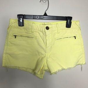 Free People Yellow Corduroy Shorts Sz 26